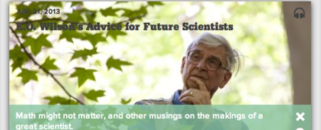 screen grab of the science friday website for the june 21 2013 broadcast featuring eo wilson last week eo wilson was the featured guest on nprs